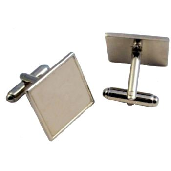 Cufflink Pair Square 18mm silver